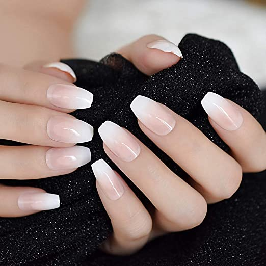 Pink Nude White Ballerina Coffin False Nails Gradeint Natrual Manicure Press On Fake Nails Tips Daily Office Finger Wear Z982