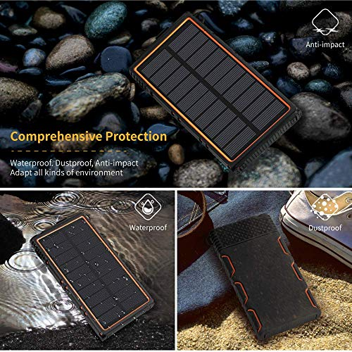 soyond Solar Power Bank-15000 mAh Portable Solar Battery Phone Charger Dual USB Waterproof 2 Led Light Flashlight with Compass for Camping Outdoor Hiking for Smartphones (Orange) by soyond (Image #6)