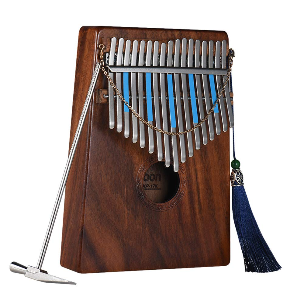 Kalimba 17 keys, ammoon Finger Piano Sanza Solid Wood Thumb Piano with Carry Bag Music Book Musical Scale Stickers Tuning Hammer(AKP-17K)