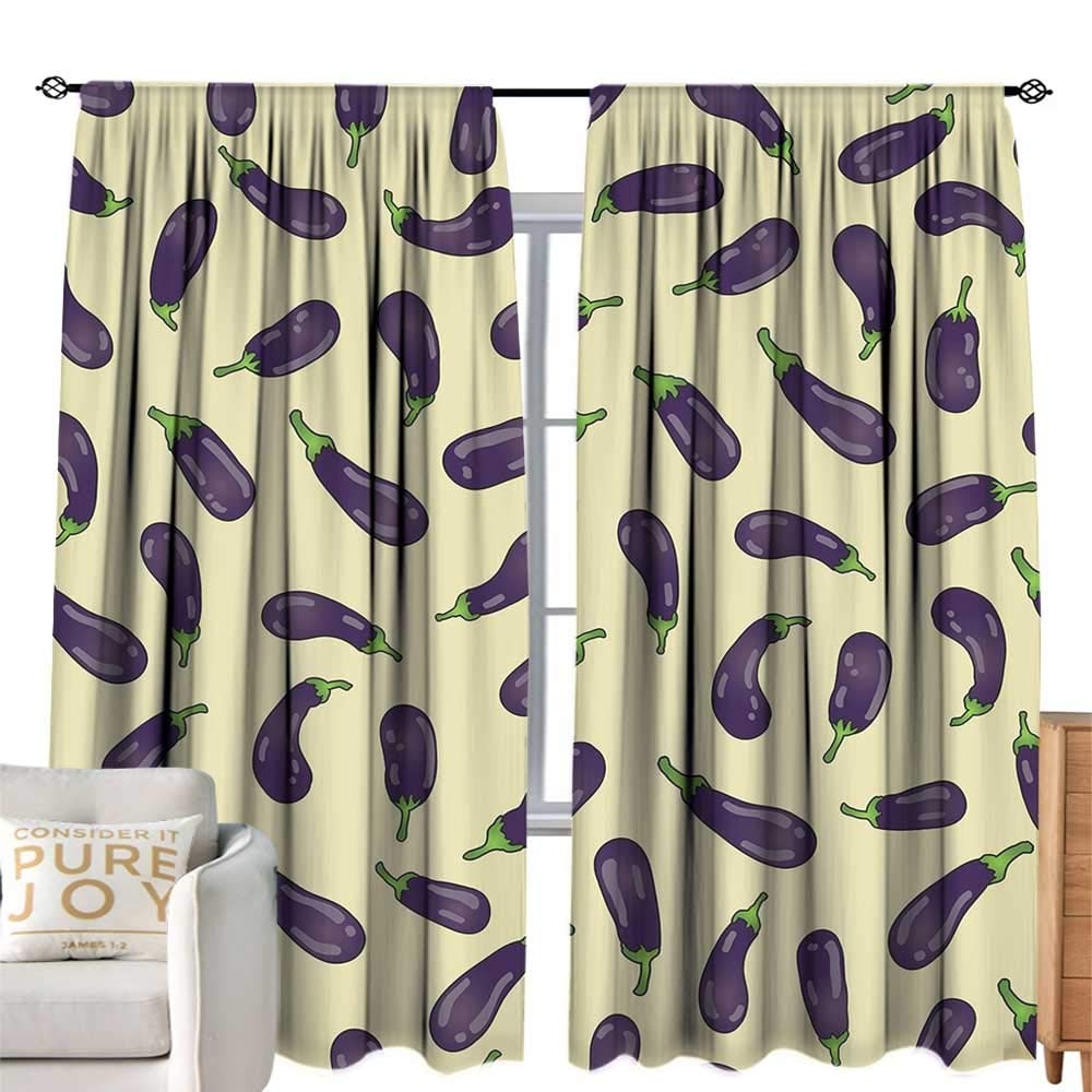 cobeDecor Extra Long Curtain Eggplant Eggplants and Light Yellow Background Fresh Delicious Meals Lunch Dinner Light Yellow Purple Breathability W84 xL84