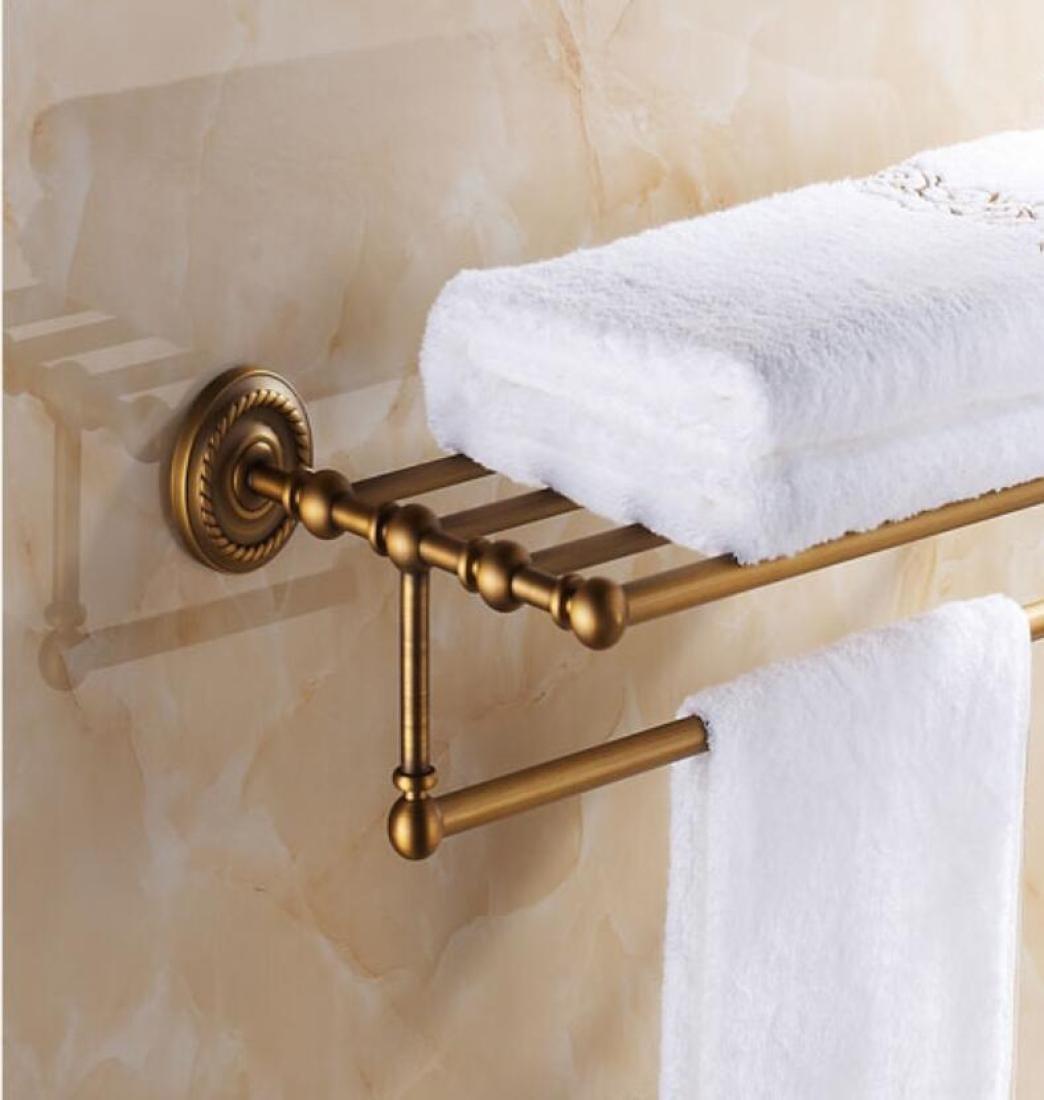 GL&G European retro Towel Holders Gold luxury Wall-Mounted Towel Racks for Bathroom Storage & Organization Shelf Home Decoration 62cm,B by GAOLIGUO (Image #3)