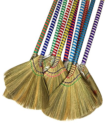 choi bong co Vietnam Hand made straw soft Broom with colored handle 12 head width, 38 overall length