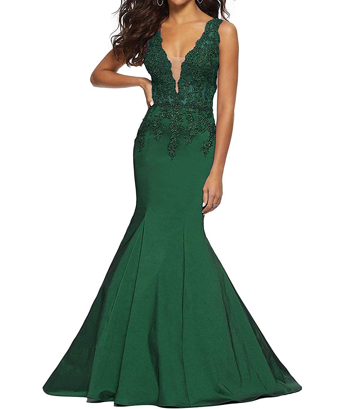 Dark Green tutu.vivi Women's 2019 VNeck Appliques Mermaid Prom Dresses Long Beaded Evening Ball Gown