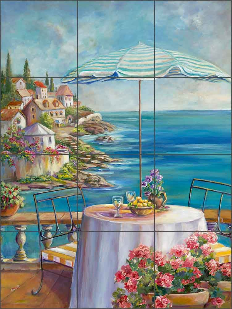 Artwork On Tile Ceramic Mural Backsplash Blue Umbrella of Collioure - Kitchen Wine Cellar Wall (18'' x 24'' - 6'' tiles)