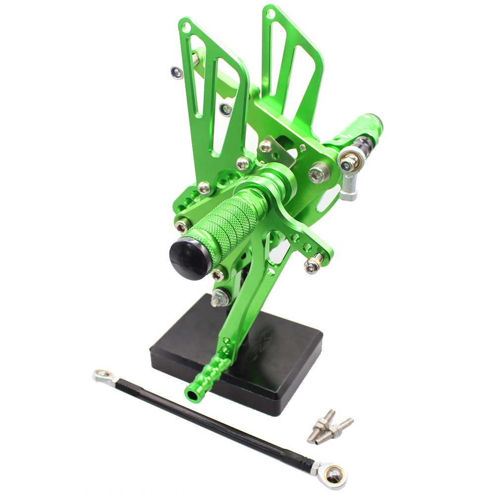FXCNC Racing Billet Motorcycle Rearset Foot Pegs Rear Set Footrests Fully Adjustable Foot Boards Fit For Kawasaki ZX10R ZX-10R 2004 2005
