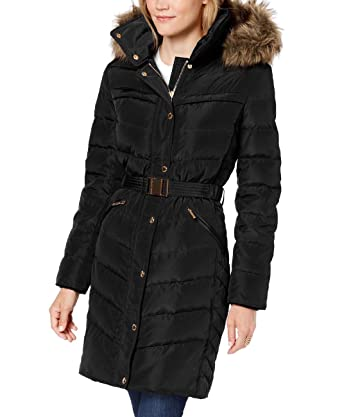 order fashion design convenience goods Amazon.com: MICHAEL Michael Kors Faux-Fur-Trim Belted Hooded ...