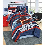 L&M 6 Piece Kids Red Blue Starwars Kylo Ren Comforter Twin Set, Grey Star Wars Themed Bedding Episode 7 Gray Clone Trooper Light Saber Space Movie, Microfiber