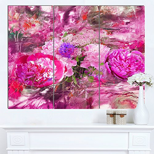 Designart PT14964-3P Pink Peonies Abstract Background Floral Canvas Artwork,,36x28 ()