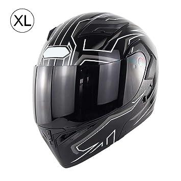 Amazon.es: Casco de Motocicleta de Cara Completa con Bluetooth, Casco de Doble Lente K5 antivaho para Bicicleta de Cara Abierta (6 Colores)
