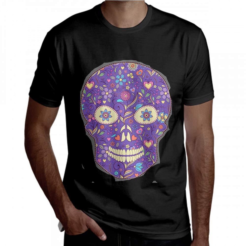 Limiejo Long T Shirt for Men Unsual Style Amazing Skull Men Short Sleeve T Shirt