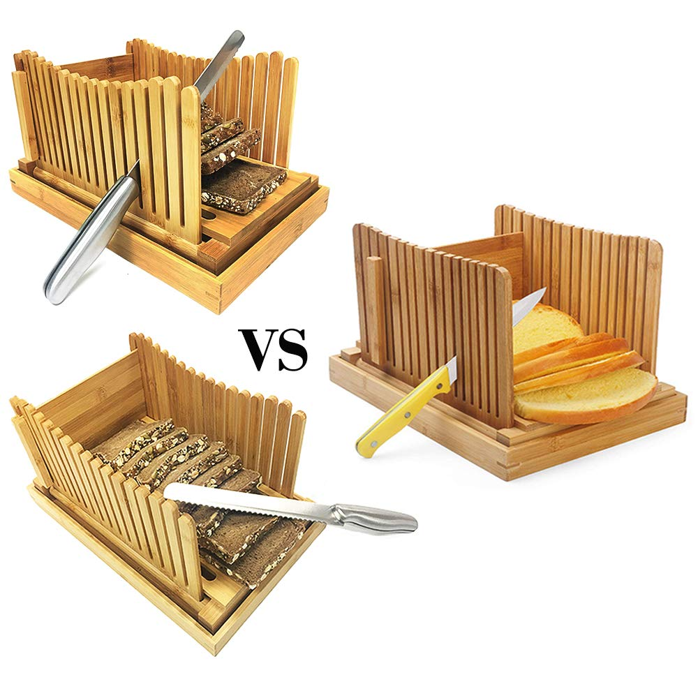 Bread Slicers for Homemade Bread with Crumb Catcher Tray, Compact Foldable Bamboo Bread Cutter Guide, 100 Bread Bags & 100 Twist Ties, Thickness Adjustable, Thick & Thin Slices 1/3'', 3/8'' and 1/2'' by FLAPRV (Image #5)