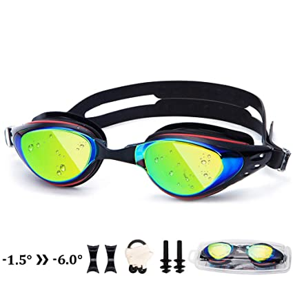 640d696f94aee1 UTOBEST Nearsighted Mirrored Swim Goggles Anti Fog Myopic Optical Swimming  Goggles 100% UV Protection Triathlon Swim Glasses for Adult Men Women Junior