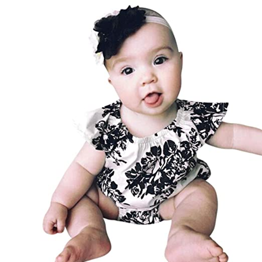 db4986b57bd1 Amazon.com  KONFA Toddler Infant Baby Girls Flowers Print Romper ...