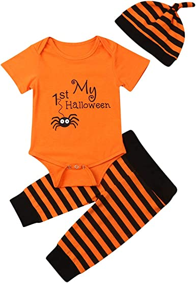 Hat Outfits Set Halloween Cosplay Costume Romper for Toddler Baby Boys Girls,Long Sleeve Bodysuit