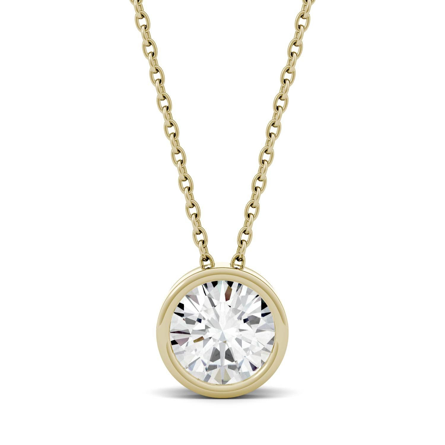 Forever One 14K Yellow Gold Round 8.0mm Moissanite Pendant Necklace, 1.90ct DEW By Charles & Colvard