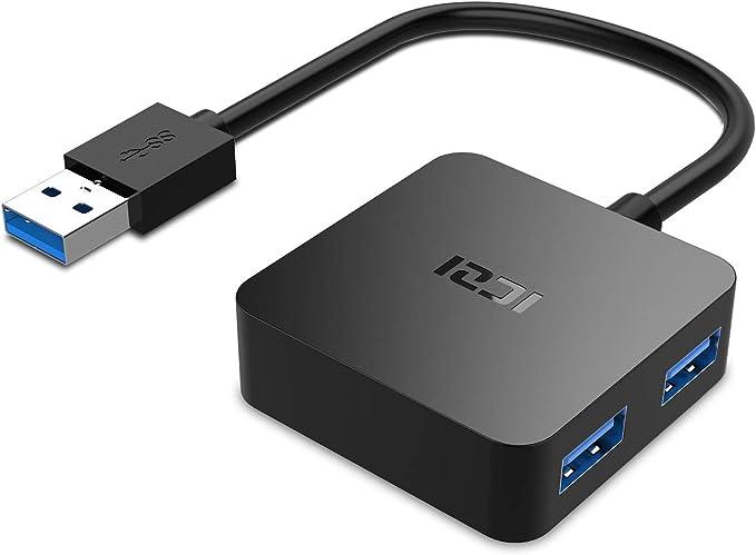 ICZI Hub USB 3.0 de 4 Puertos USB 3.0 , Adaptador usb 3.0 con Conector Niquelado de Alta Velocidade de Transmisión - Negro: Amazon.es: Informática