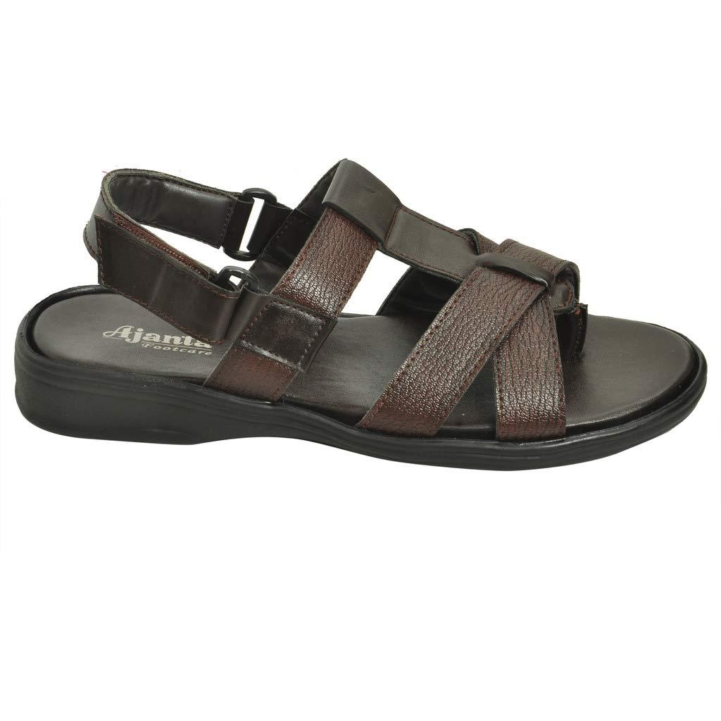 6017830ffcbf Ajanta Men s Brown Leather Sandal  Buy Online at Low Prices in India -  Amazon.in