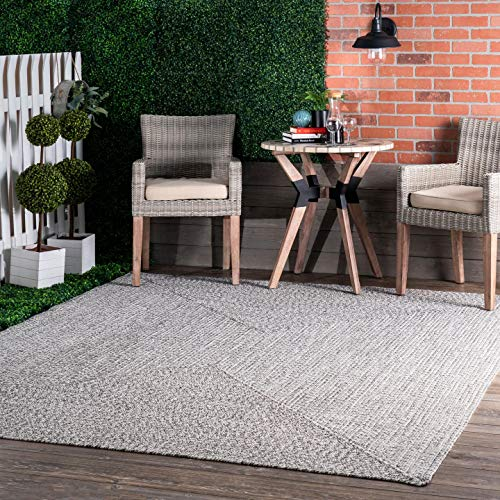 nuLOOM Lefebvre Braided Indoor/Outdoor Area Rug, 4′ x 6′, Light Grey