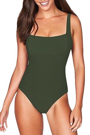 3de73f91792 Cutiefox Women's Swimwear One Piece Vintage Backless Swimsuit Bathing Suit  Army Green Size S