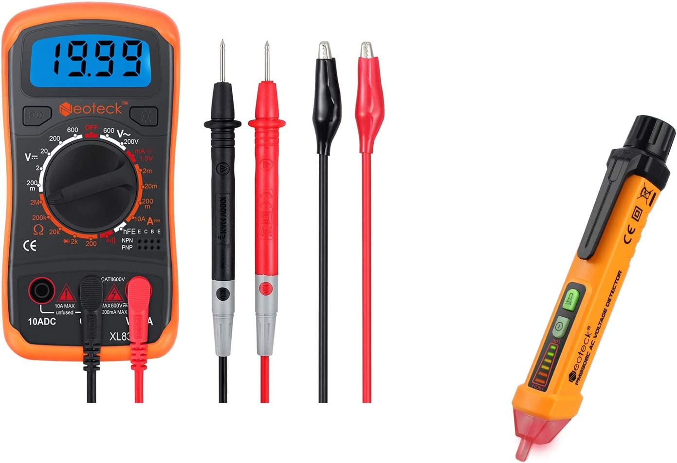 Neoteck Digital Multimeter Non-Contact Voltage Tester AC 12-1000V Voltage Detector Pen