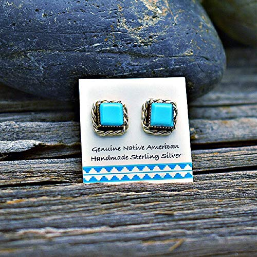 (6mm Genuine Sleeping Beauty Turquoise Square Stud Earrings, 925 Sterling Silver, Authentic Navajo Native American USA Handmade, Natural Stone, Light Blue, Southwest Jewelry)