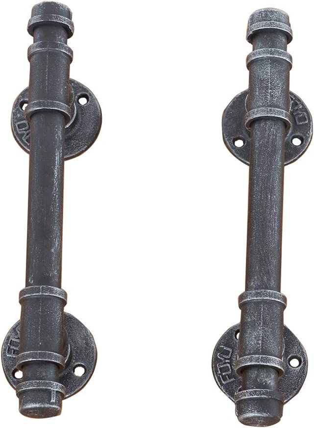 Swirl Wrought Iron Door Handle Entry Hardware Left and Right Pull 12 Inch Pair