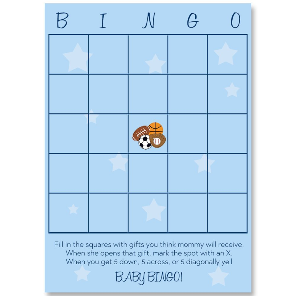 Bingo Games, All Star, Baby Shower Bingo Games, Blue, Navy, Sports Baby, Basketball, Soccer Ball, Football, Baseball, Boy, It's A Boy, Baby Shower Games, 24 Printed Cards by The Invite Lady