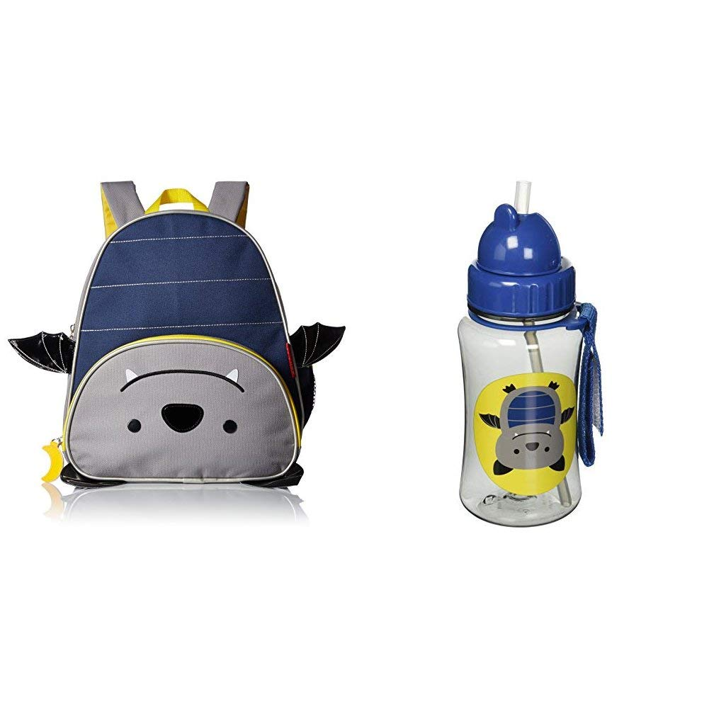Skip Hop Insulated Toddler Backpack and Straw Cup, Zoo Bat Bundle