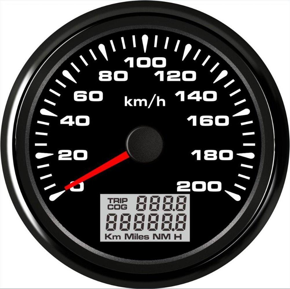 LING Auto Motorrad GPS Tachometer Velometer 0– 200 km/h Geschwindigkeit Kilometerzä hler fahrleistung mit Hintergrundbeleuchtung 85 mm ELING