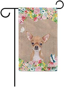 BAGEYOU Hello Spring Flowers with My Love Dog Chihuahua Decorative Outdoor Garden Flag Cute Puppy Summer Floral Seasonal Banner 12.5X18 Inch Print Double Sided
