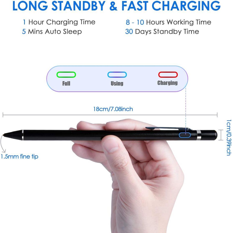 iPad Pen with Fine Point Black Rechargeable Stylus Pen Compatible ...