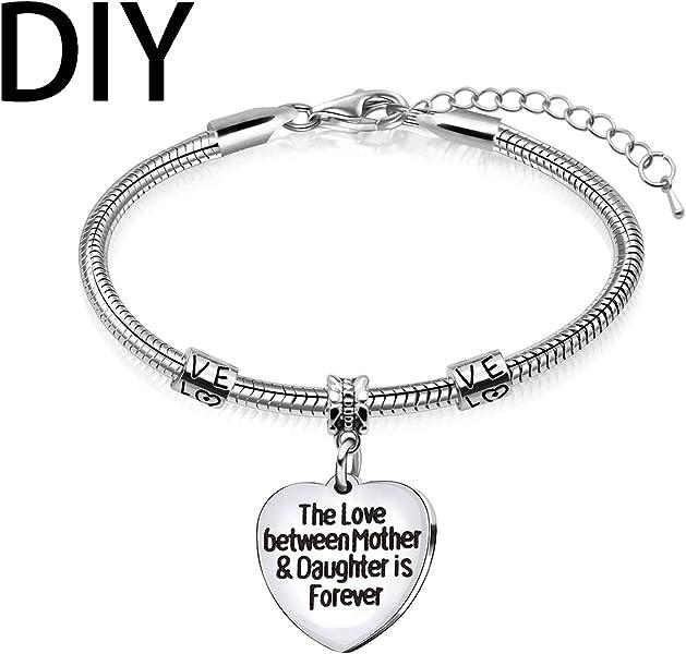 abce2769b698 Regalo para madre hija corazón colgante pulseras pulsera mujer mamá  cumpleaños joyas accesorios