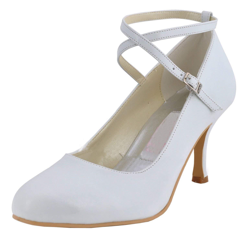 Qiusa MZ615 Damen Round Toe High Heel Mary Jane Braut Hochzeit Satin Schnalle Pump Schuhe (Farbe   Ivory-7.5cm Heel Größe   5 UK)