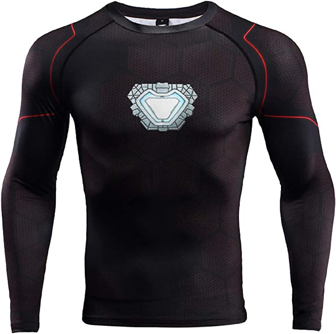 GYM GALA Iron Man Shirt Casual and Sports 3D Printed Compression Shirt Red Small, Red-1