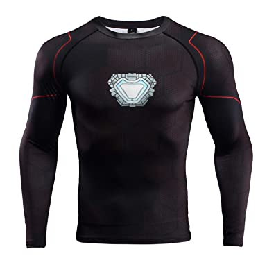 5005d69a Iron Man Compression Shirt for Men's Gym Tops Cosplay Tees (Small, Black)