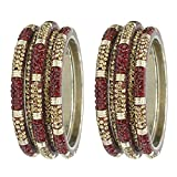 MUCH-MORE Trendy Designer Lac Bangles in Multi Color Party Wear Jewelry for Womens (Maroon, 2.6)