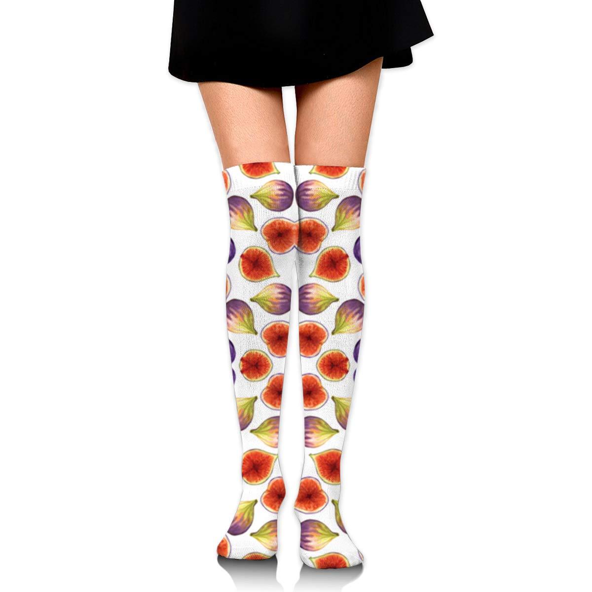 Women's Knee High Socks Long Tube Stockings Huadduo Figs Pink