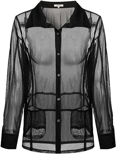 YUFAA Blusa Transparente para Mujer con Blusa de Encaje y Camisa de Encaje Blouse (Color : Negro, Size : Metro): Amazon.es: Ropa y accesorios