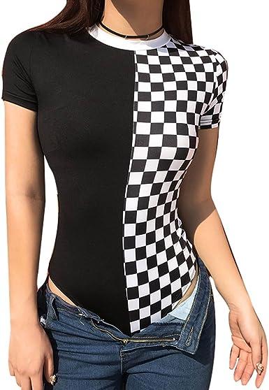 Juleya Mujer Mono Slim Fit Overall Camisa de Cuadros en Blanco y Negro Mono con Escote O Manga Corta Camiseta: Amazon.es: Ropa y accesorios
