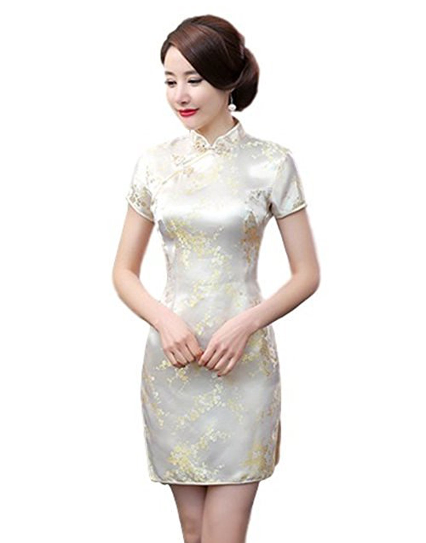 Maritchi Women's Sexy Floral Mini Chinese Evening Dress Cheongsam China Wedding Clothes (6(ChineseL), Yellow)