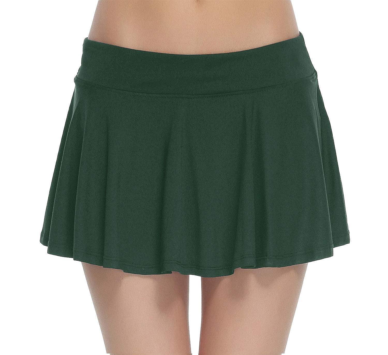 HonourSport Women's Club Stretchy Tennis Skorts Pleated Cheerleader Skirt hf_02