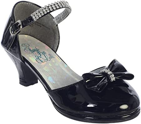 New Black Ivory Silver White Girls Dress Shoes Pumps Heels Toddler Youth Kids