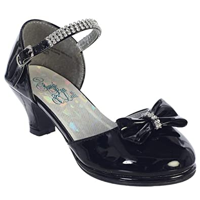 06fa56093 Swea Pea   Lilli Girls Dress Shoes Low Heel Pump with Rhinestone Strap Bow  Kids Youth