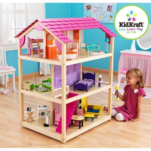 61idR9fHfDL - KidKraft So Chic Dollhouse with Furniture