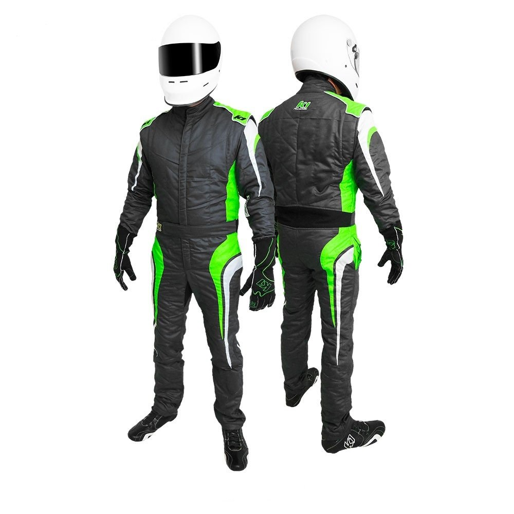 K1 Race Gear GT Nomex SFI 3.2A/5 Auto Racing Suit (Green, Large/X-Large)