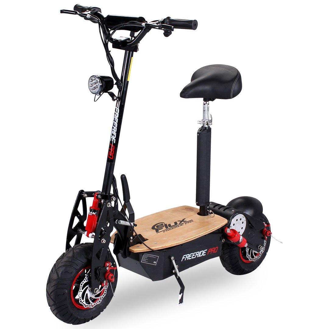 E-Scooter Roller Original E-Flux Freeride PRO 1600 Watt 48 V EXCLUSIV EDITION mit Licht und Freilauf 13x5-6 Reifen Extra groß Holztrittbrett Elektroroller E-Roller