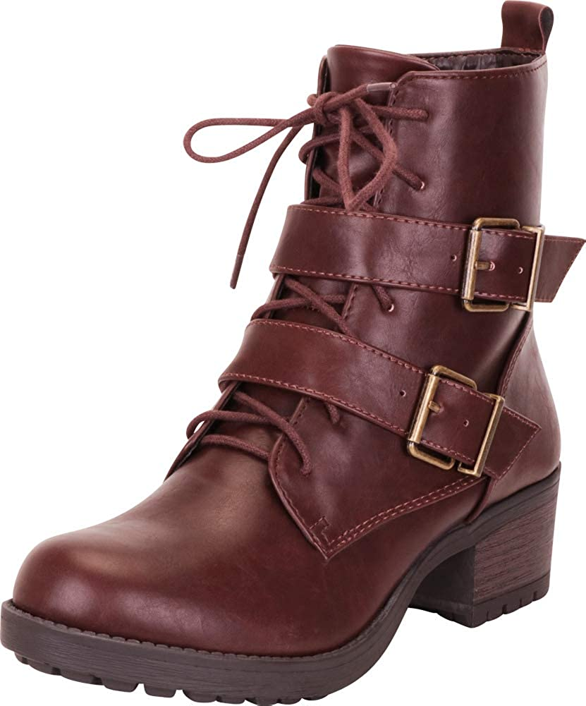 Brown Pu Cambridge Select Women's Strappy Buckle Lace-Up Stacked Block Heel Moto Combat Boot