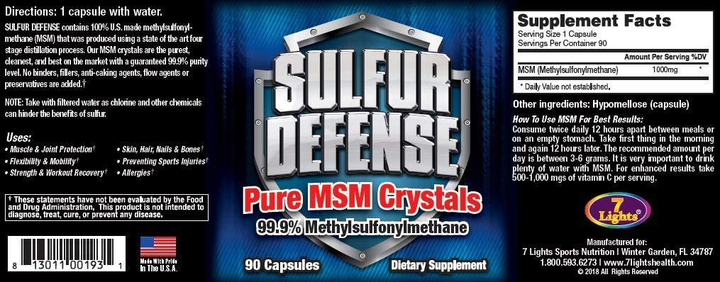 7 Lights Sulfur Defense, MSM Crystals, 99.9% Methylsulfonylmethane (3 Pack Special)