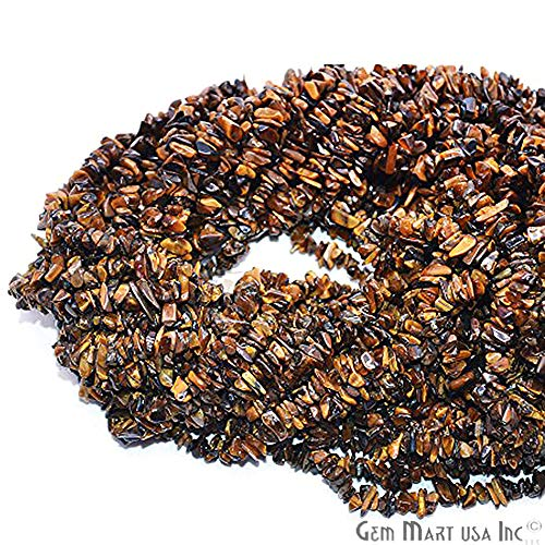 (1 Strand (34inches) of Real Natural Tiger Eye Gemstone Chips Beads. Yellow color, wholesale price. Prepared exclusively by GemMartUSA)