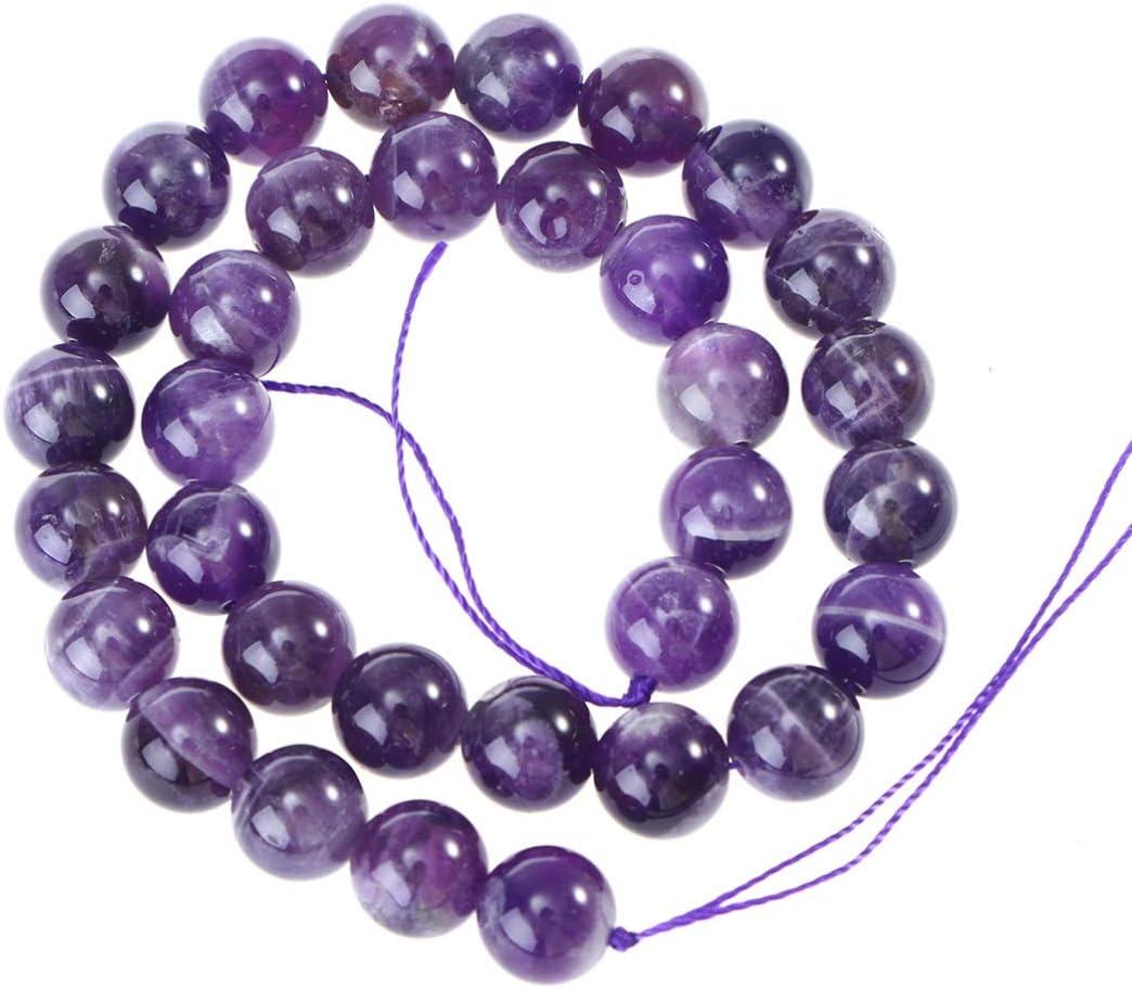 Cuentas redondas de cristal de 4 mm, de Heallily, para manualidades, joyas, collares, pulseras, accesorios (morado), amatista, morado, 12 mm